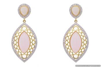 AD STONE STUDDED JAALI WORK STYLE EARRINGS/HANGINGS (PINK)  - PCFE3143