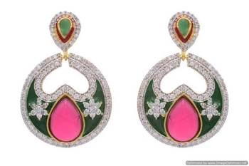 AD STONE STUDDED BAALI STYLE MEENA WORK EARRINGS/HANGINGS (RED GREEN)  - PCFE3147