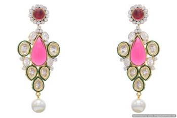AD STONE STUDDED ROYAL POLKI STYLE  EARRINGS/HANGINGS (RED)  - PCFE3155