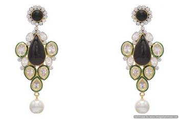 AD STONE STUDDED ROYAL POLKI STYLE  EARRINGS/HANGINGS (BLACK)  - PCFE3159