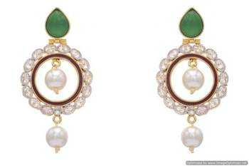 AD STONE STUDDED ROUND MEENA WORK CHAAND BAALI EARRINGS/HANGINGS (RED GREEN)  - PCFE3162