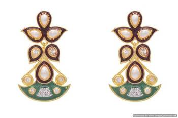AD STONE STUDDED MEENA WORK EARRINGS/HANGINGS (RED GREEN)  - PCFE3166