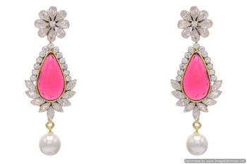 AD STONE STUDDED FLOWER STYLE EARRINGS/HANGINGS (RED)  - PCFE3168