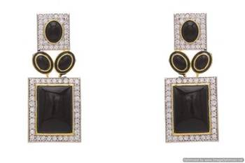 AD STONE STUDDED EARRINGS/HANGINGS (BLACK)  - PCFE3174