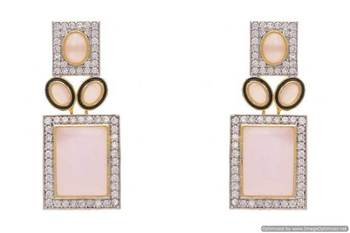 AD STONE STUDDED EARRINGS/HANGINGS (PINK)  - PCFE3175