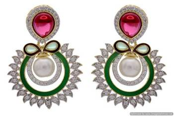 AD STONE STUDDED ROUND MEENA WORK CHAAND BAALI STYLE EARRINGS/HANGINGS (RED GREEN)  - PCFE3191