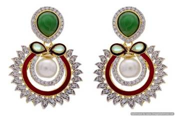 AD STONE STUDDED ROUND MEENA WORK CHAAND BAALI STYLE EARRINGS/HANGINGS (GREEN RED)  - PCFE3192