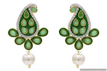 AD STONE STUDDED KAIRI SHAPED MEENA WORK EARRINGS/HANGINGS (GREEN)  - PCFE3200