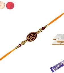 Buy Divine rakhi with wooden om  with kaju katali divine-rakhi online