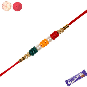 Colorful fancy rakhi with white pearl
