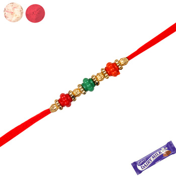 Colorful crystals rakhi with red thread