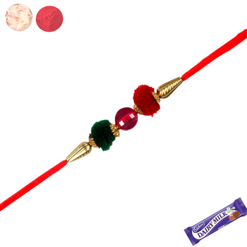 Red and green color traditional rakhi
