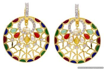 AD STONE STUDDED ROUND MEENA WORK BAALI STYLE EARRINGS/HANGINGS (NAVRATNA)  - PCFE3209