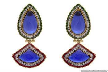 AD STONE STUDDED ROYAL BIG STONE EARRINGS/HANGINGS (SAPPHIRE)  - PCFE3216