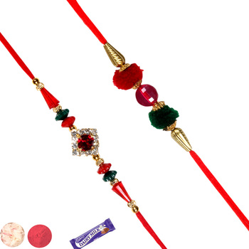 Set of 02 fancy stone rakhis