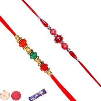 Set of 02 fancy bead rakhis