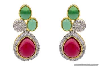 AD STONE STUDDED ELEGANT EARRINGS/HANGINGS (RED GREEN)  - PCFE3223
