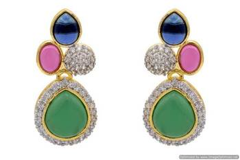 AD STONE STUDDED ELEGANT EARRINGS/HANGINGS (RED GREEN BLUE)  - PCFE3230