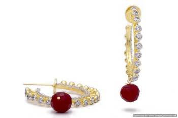 AD STONE STUDDED BAALI STYLE EARRINGS/HANGINGS (RED)  - PCFE3232