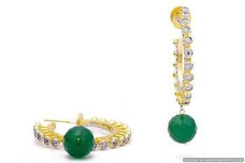 AD STONE STUDDED BAALI STYLE EARRINGS/HANGINGS (GREEN)  - PCFE3233