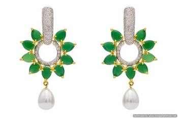 AD STONE STUDDED ROYAL FLOWER  STYLE EARRINGS/HANGINGS (GREEN)  - PCFE3237