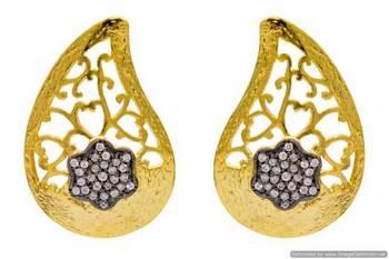 AD STONE STUDDED KAIRI SHAPED JAALI WORK EARRINGS/HANGINGS (AD)  - PCFE3243
