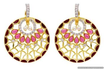 AD STONE STUDDED ROYAL MEENA WORK CHAAND BAALI STYLE EARRINGS/HANGINGS (RED)  - PCFE3246