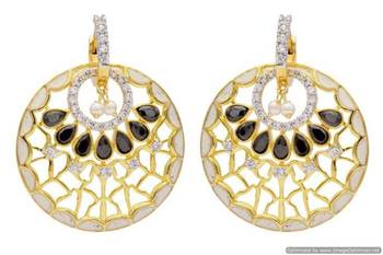 AD STONE STUDDED ROYAL MEENA WORK CHAAND BAALI STYLE EARRINGS/HANGINGS (BLACK WHITE)  - PCFE3247