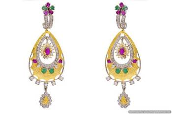 AD STONE STUDDED MATT GOLD FINISHED EARRINGS/HANGINGS (AD RED GREEN)  - PCFE3252