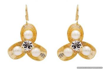 AD STONE STUDDED BEAUTIFUL FLOWER SHAPED EARRINGS/HANGINGS (AD PEARL)  - PCFE3258
