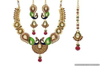 ANTIQUE GOLDEN STONE STUDDED PEACOCK THEME MEENA WORK NECKLACE SET (RED GREEN)  - PCAN4004