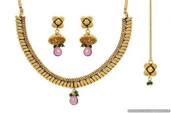 ANTIQUE GOLDEN TRADITIONAL MANGO STYLE NECKLACE SET (GOLD)  - PCAN4030
