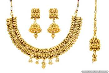 ANTIQUE GOLDEN TRADITIONAL NECKLACE SET (GOLD)  - PCAN4035