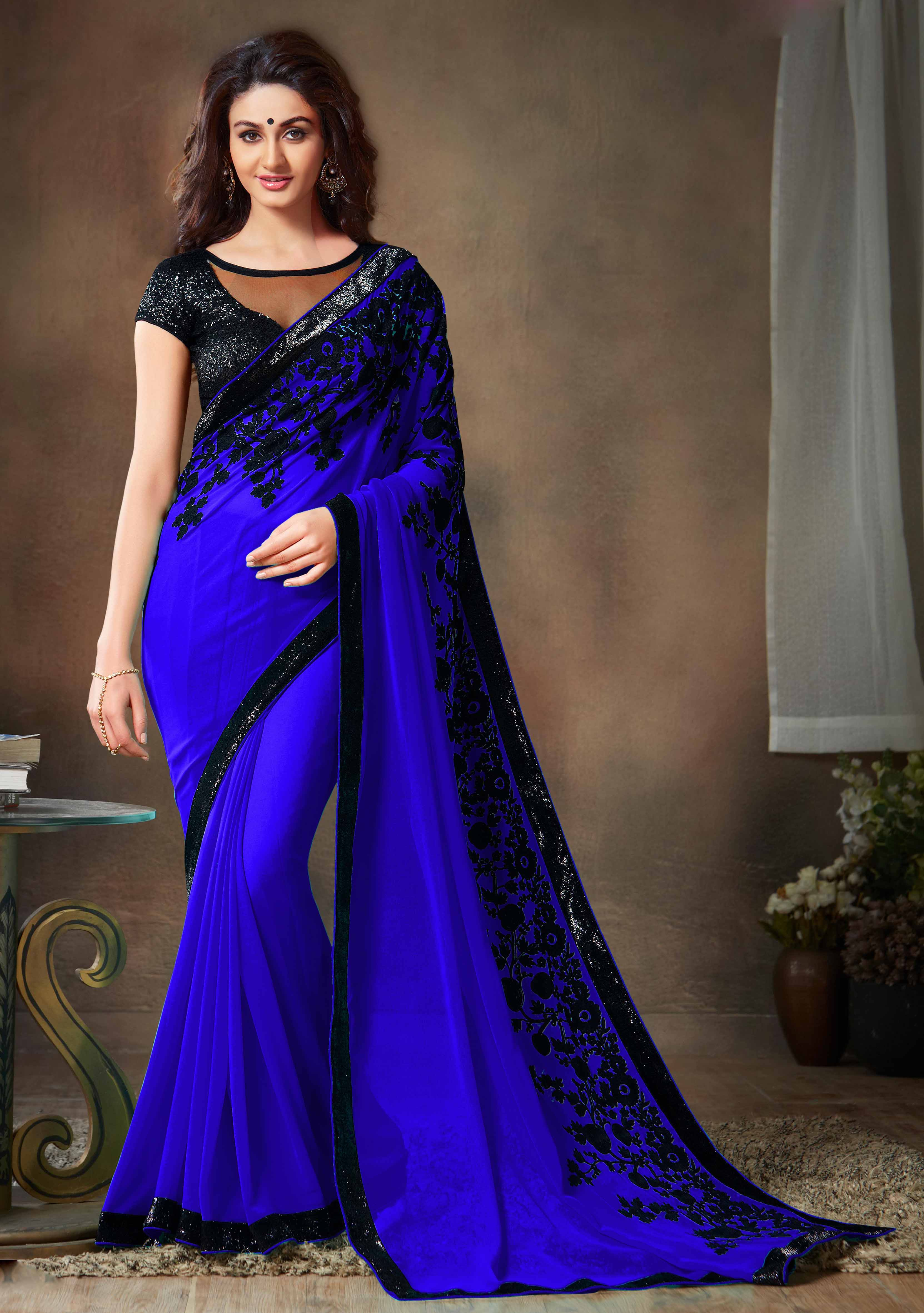 749f460092 Blue embroidered georgette saree With Blouse - AnK Enterprise - 1252562