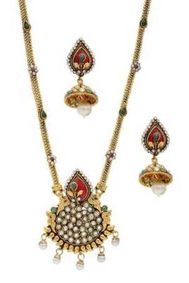ANTIQUE GOLDEN STONE STUDDED LOCKET/PENDANT SET (AD RED GREEN)  - PCPS7004
