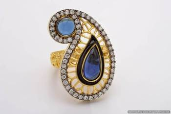 ANTIQUE GOLDEN KAIRI THEME STYLE ADJUSTABLE SIZE FINGER RING (SAPPHIRE)  - PCR9002