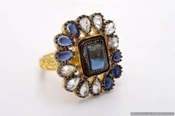 ANTIQUE GOLDEN POLKI STONE THEME ADJUSTABLE SIZE FINGER RING (SAPPHIRE)  - PCR9008