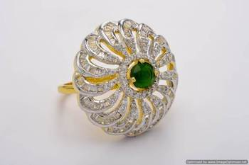 AD STONE STUDDED ROYAL ELEGANT ADJUSTABLE SIZE FINGER RING (AD GREEN)  - PCR9013