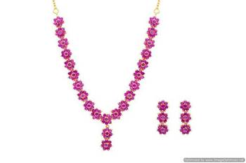 AD STONE STUDDED ELEGANT FLOWER STYLE THEME NECKLACE SET (RUBY)  - PCADN10003
