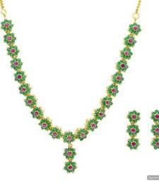Buy AD STONE STUDDED ELEGANT FLOWER STYLE THEME NECKLACE SET (RUBY EMRALD)  - PCADN10006 Necklace online