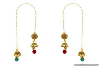 ANTIQUE GOLDEN STONE STUDDED FLOWER STYLE KASHMIRI JHUMKA/HANGINGS (RED GREEN)  - PCKJ12024
