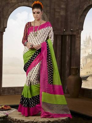 printed bhagalpuri silk saree with blouse