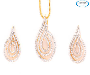 Unique modern fashion CZ diamonds earring and pendant jewelry.