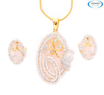 Indian costume designer fashion CZ diamonds pendant jewelry.