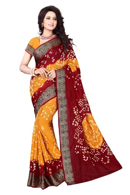 Red And Yellow Printed Georgette Saree With Blouse