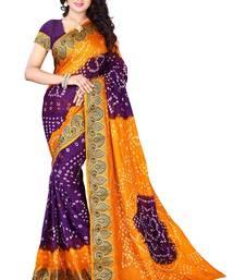 Buy Yellow andPurple printed georgette saree With Blouse bandhani-sarees-bandhej online