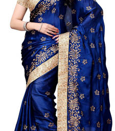 Navy Blue  embroidered georgette satin saree With Blouse