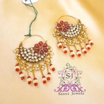 Beautiful Polki Zircon Chaand Baali