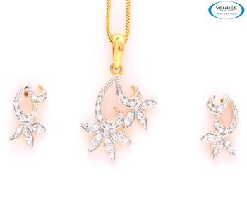 Fancy Fashion CZ diamond pendant set