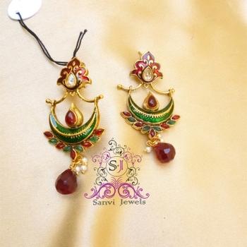 Antique Multicolour Meenakari Earrings